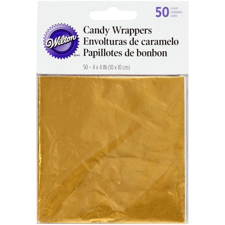 Gold Foil Candy Wrappers, 50-Count