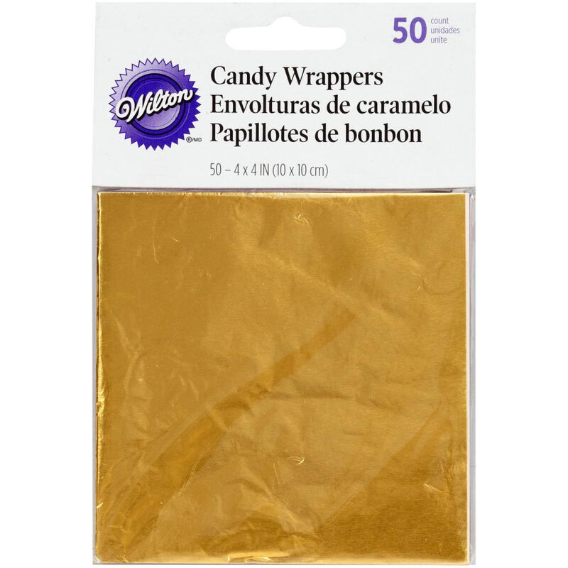 Gold Foil Candy Wrappers, 50-Count image number 0