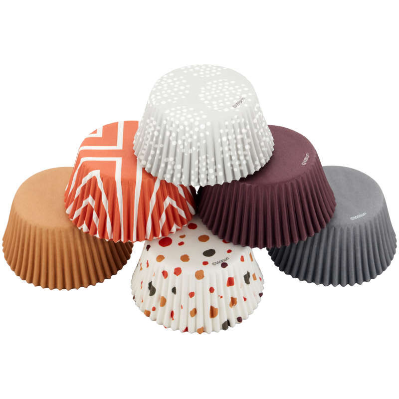 Brown, Orange, Grey and Neutral Print Standard Baking Cups, 150-Count image number 0