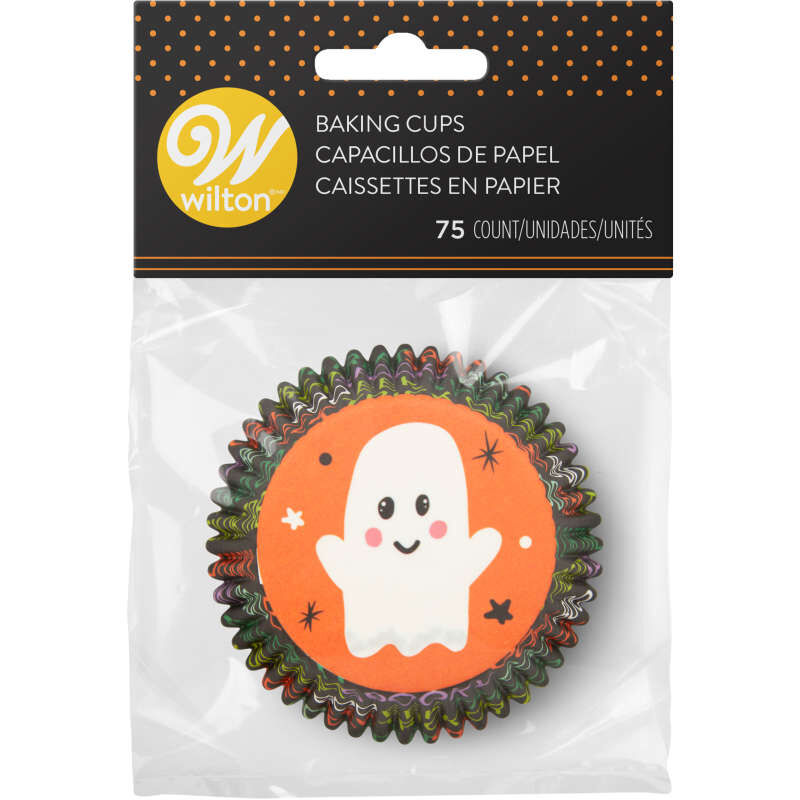 Whimsical Ghost Standard Halloween Cupcake Liners, 75-Count image number 1
