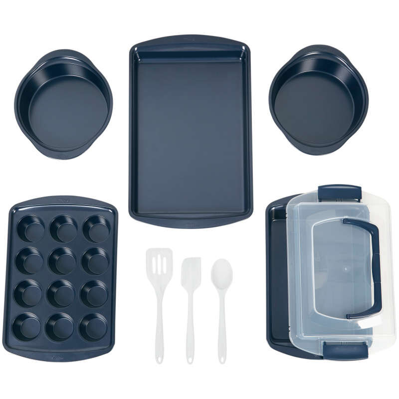 Diamond-Infused Non-Stick Navy Blue Baking Set, 9-Piece image number 1