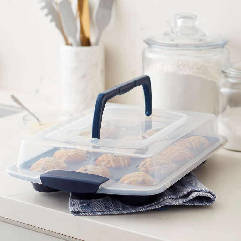 Diamond-Infused Non-Stick Navy Blue Muffin and Cupcake Pan, 12-Cup image number 5