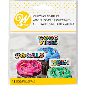 Pop Art Phrase Cupcake Toppers, 12-Count