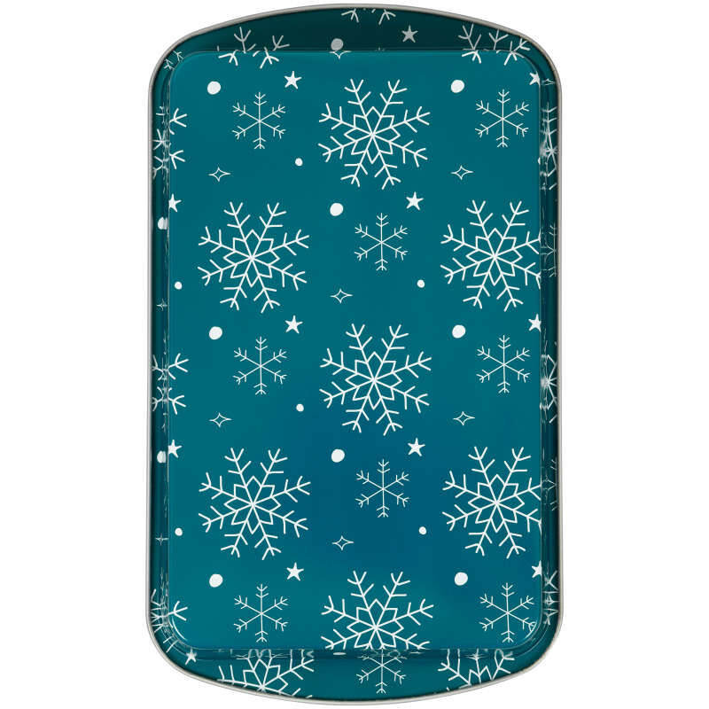 Bake and Bring Snowflake Print Non-Stick 11 x 7-Inch Oblong Pan Set, 2-Count image number 2
