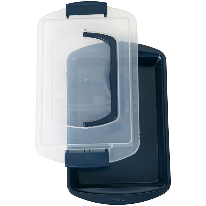 Diamond-Infused Non-Stick Navy Blue Oblong Pan with Cover, 9 x 13-inch image number 0