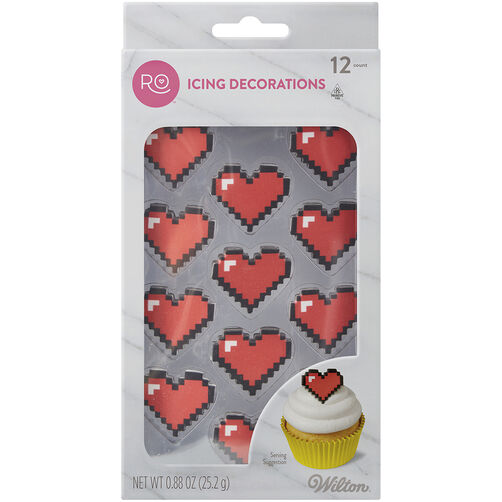 Ro Royal Pixel Heart Icing Decorations, 12 CT