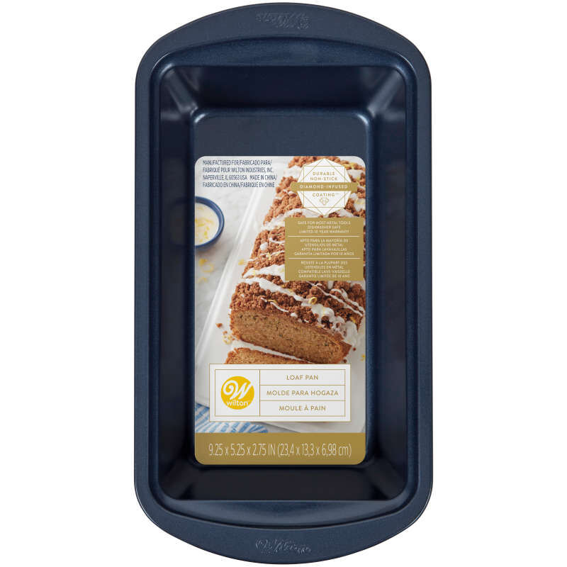 Diamond-Infused Non-Stick Navy Blue Loaf Baking Pan, 9 x 5-inch image number 1
