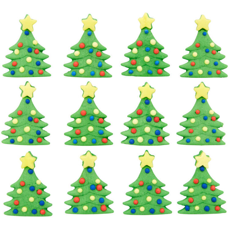 Christmas Tree Royal Icing Decorations, 12-Count