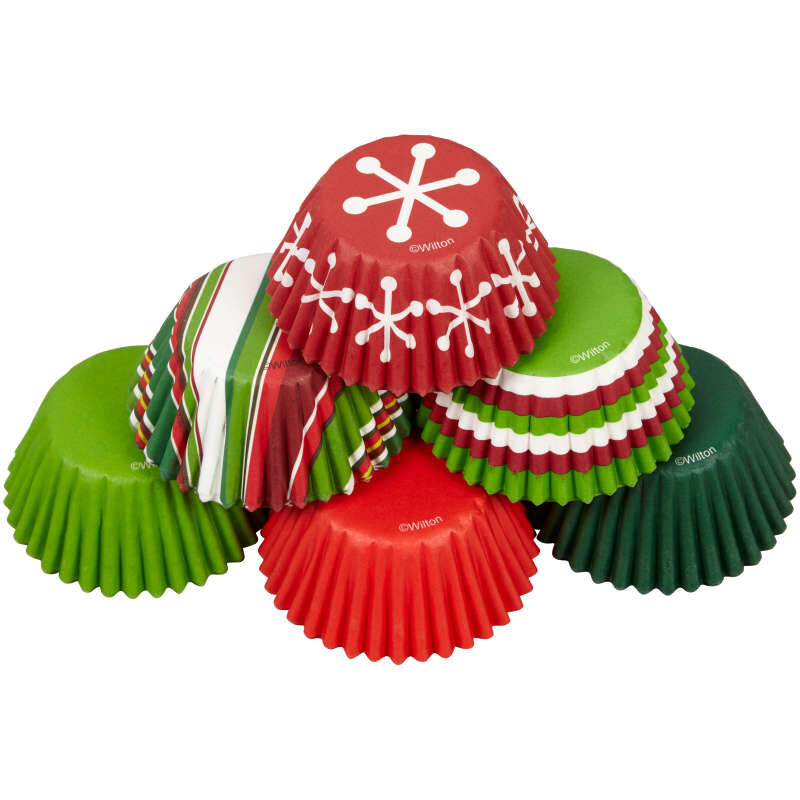 Holiday Red and Green Mini Cupcake Liners, 150-Count image number 3