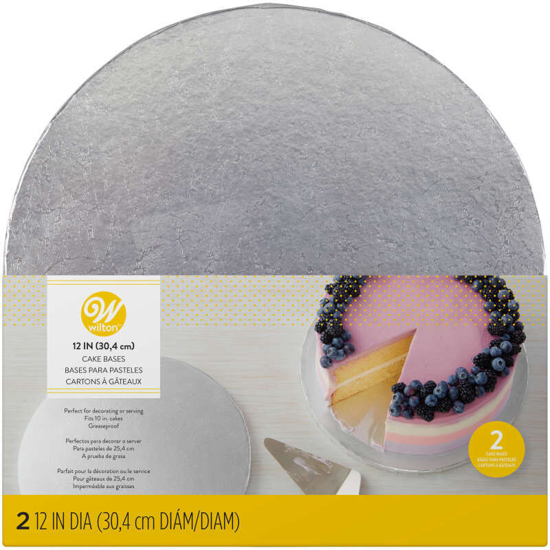 Silver 12-Inch Round Cake Bases, 2-Count image number 0