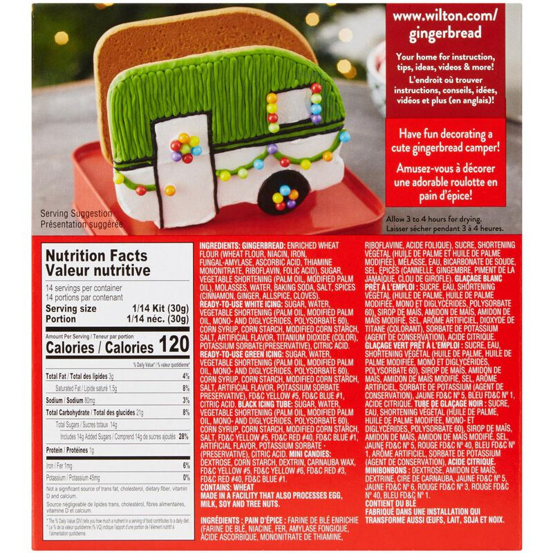 Build it Yourself Outdoor Adventures Ahead Gingerbread Camper Decorating Kit image number 1