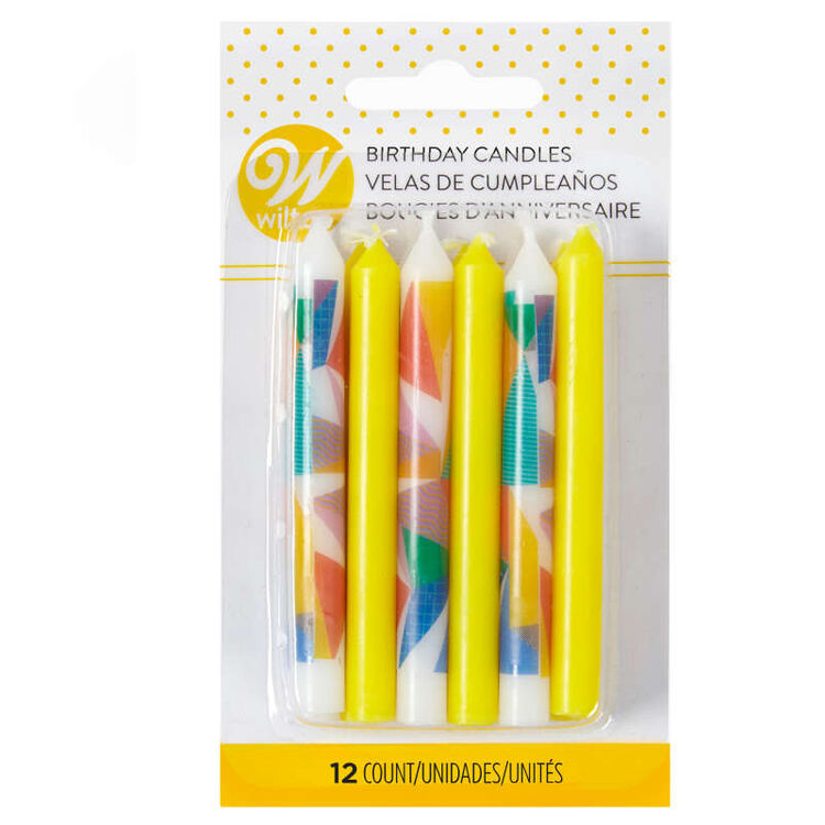 Yellow and Color Block Birthday Candles in Packaging