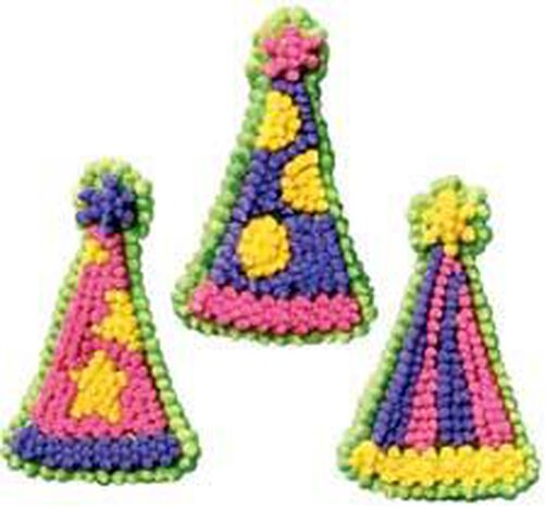 Party Hats Icing Decorations