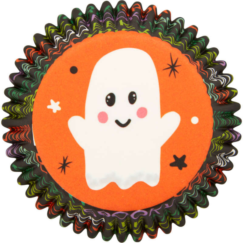 Whimsical Ghost Standard Halloween Cupcake Liners, 75-Count image number 0