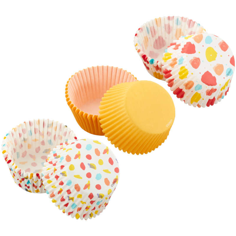 Large Polka Dot, Small Polka Dot and Yellow Standard Baking Cups, 75-Count image number 1