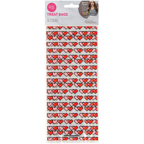 Rosanna Pansino 16-Bit Heart Treat Bags by Wilton, 16-Count