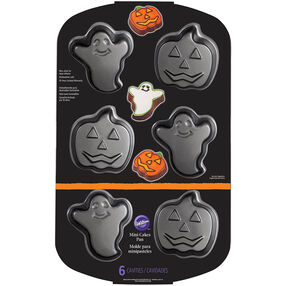 Ghost and Pumpkin Non-Stick Mini Cakes Pan, 6-Cavity