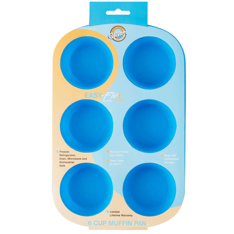 Easy-Flex Silicone Muffin and Cupcake Pan, 6-Cup image number 1
