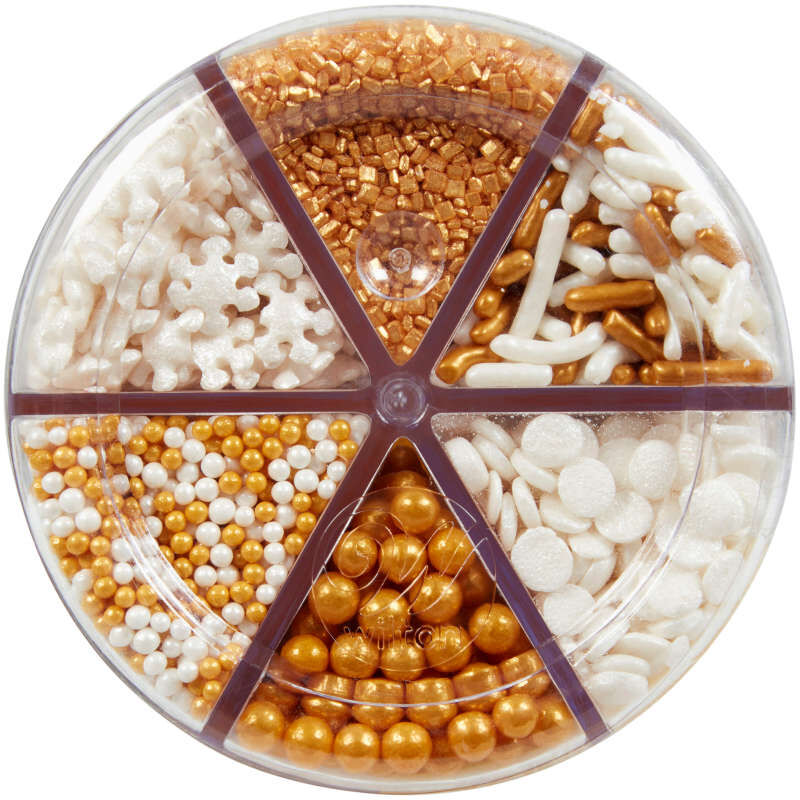 6-Cell Gold and White Holiday Sprinkles, 6.98 oz. image number 1