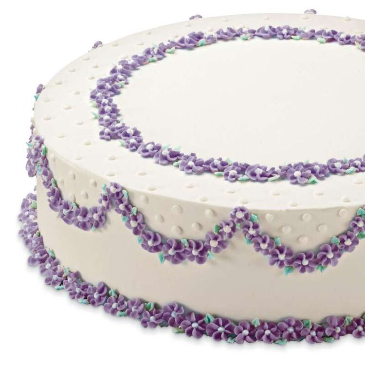 Round Cake with Purple Buttercream Flowers