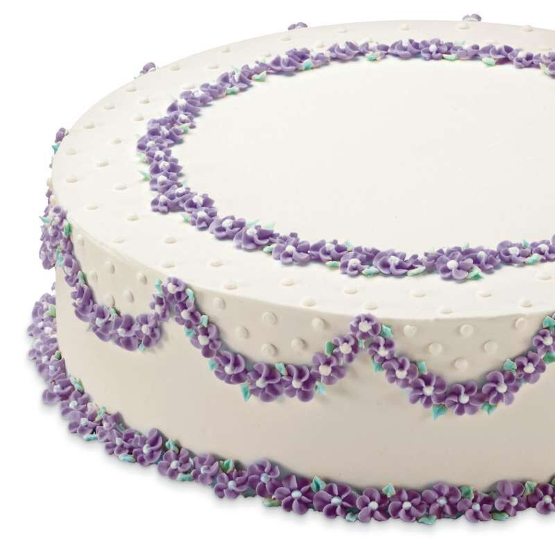 Round Cake with Purple Buttercream Flowers image number 5