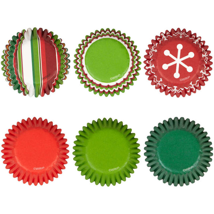 Holiday Red and Green Mini Cupcake Liners, 150-Count