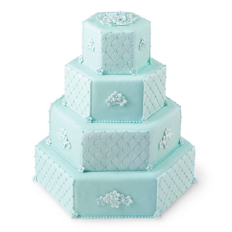 Blue Tiered Hexagon Cake image number 4