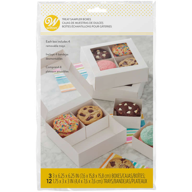 4-Cavity White Window Bakery Boxes with Dividers, 3-Count image number 1