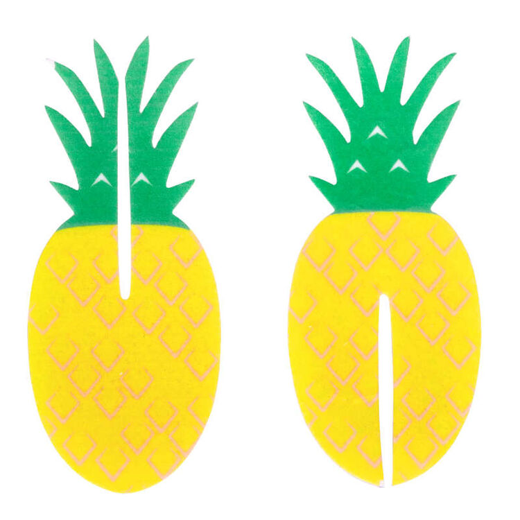 Tropical Party Pineapple 3-D Cupcake Toppers, 12-Count Decorations
