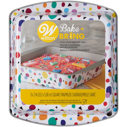 Bake and Bring Geometric Print Non-Stick 8-Inch Square Cake Pan