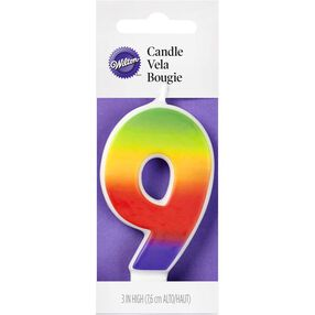 Number 9 Rainbow Birthday Candle