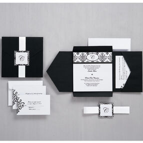 Black and White Scroll Monogram Pocket Invitation