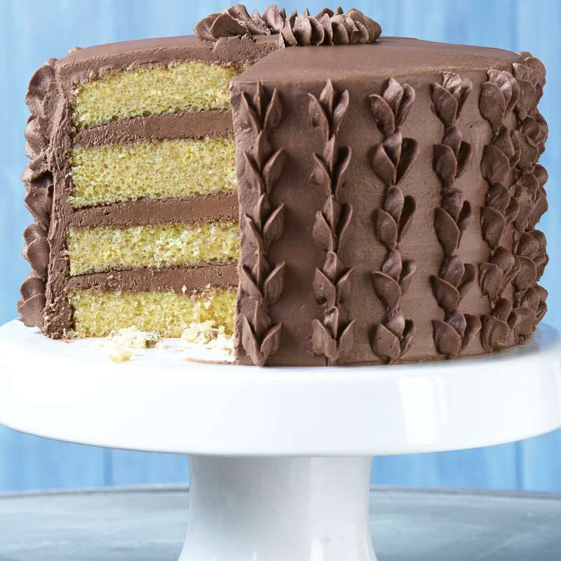 Layered Yellow Cake with Chocolate Frosting image number 3