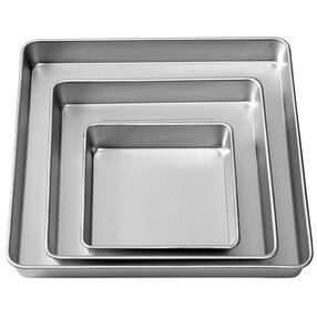 Performance Pans Square Cake Pans Set, 3 Piece -  8, 12 and 16-Inch Cake Pans