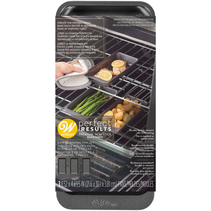 Perfect Results 8 x 4-Inch Premium Non-Stick Baking Pan Set, 3-Piece image number 2