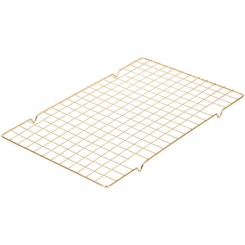 Diamond-Infused Non-Stick Large Navy Blue Cookie Sheet with Gold Cooling Grid Set image number 3