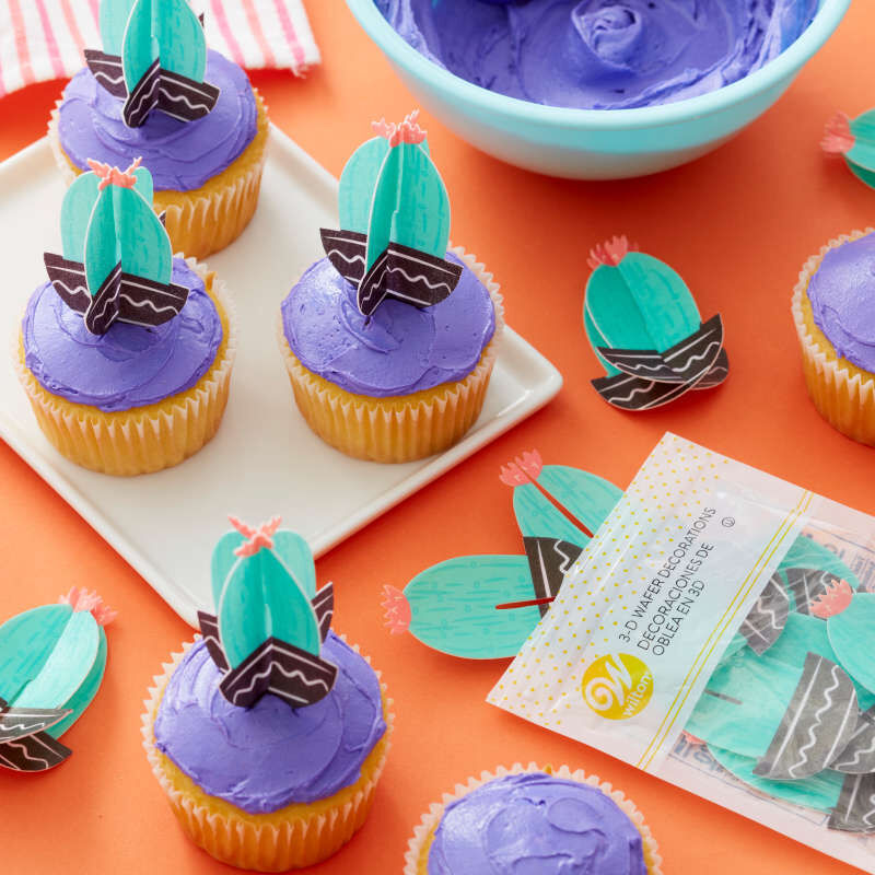 Cactus Party 3-D Wafer Decorations, 12-Count Edible Cupcake Toppers image number 3