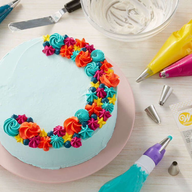 Blue Cake with Colorful Frosting Decorations