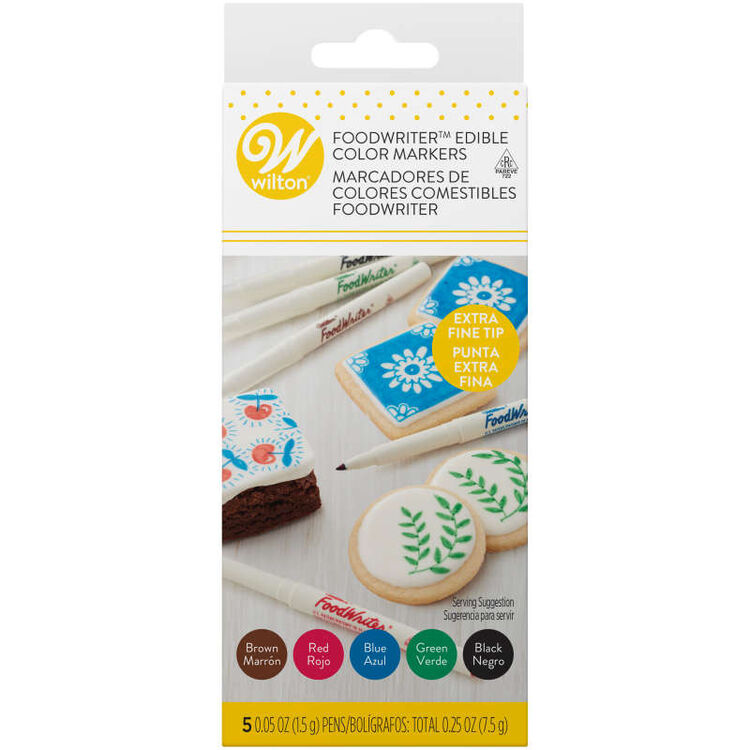 FoodWriter Extra Fine Tip Edible Color Markers, 5-Pack