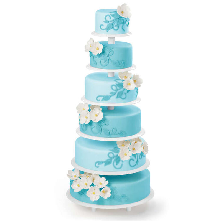 Six Tier Blue Cake on Cake Stand