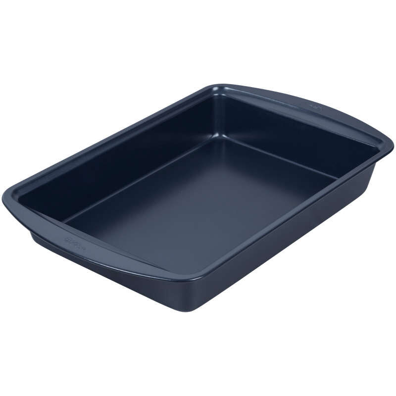 Diamond-Infused Non-Stick Navy Blue Oblong Pan with Cover, 9 x 13-inch image number 2