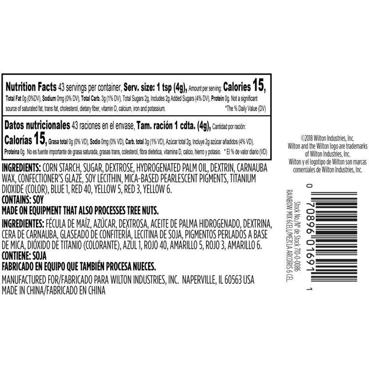 Assorted Brights and Pastels Sprinkles Mixes Nutrition Facts and Ingredients