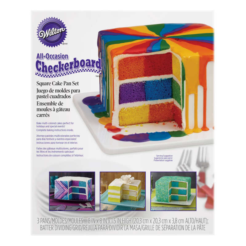 Square Rainbow Checkerboard Cake Pan, 4 Piece Set image number 1