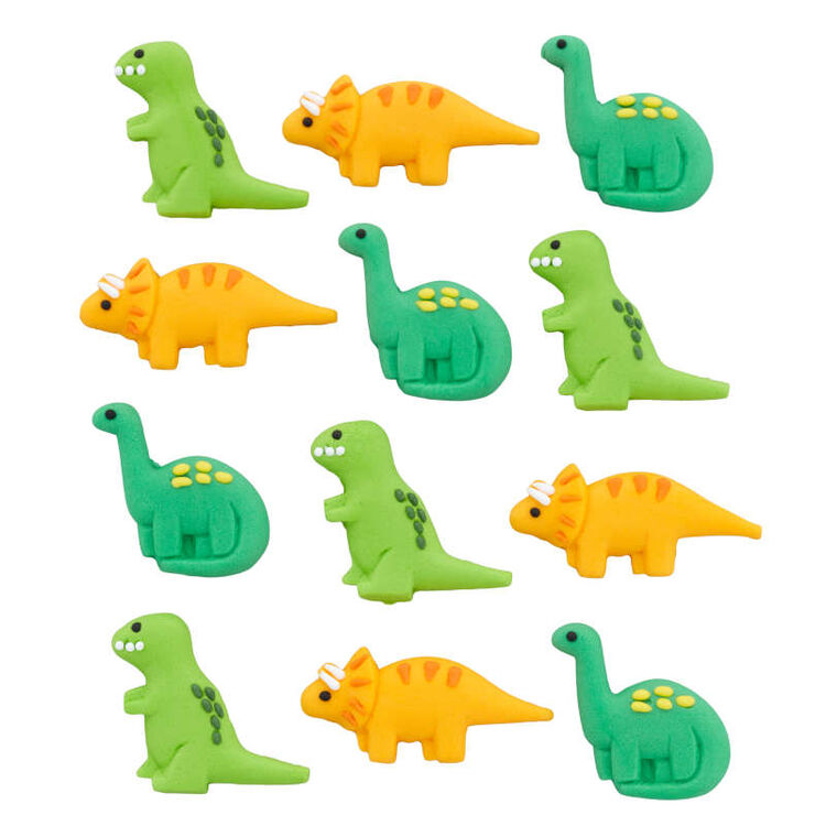 Green and Orange Dinosaur Royal Icing Decorations, 12-Count