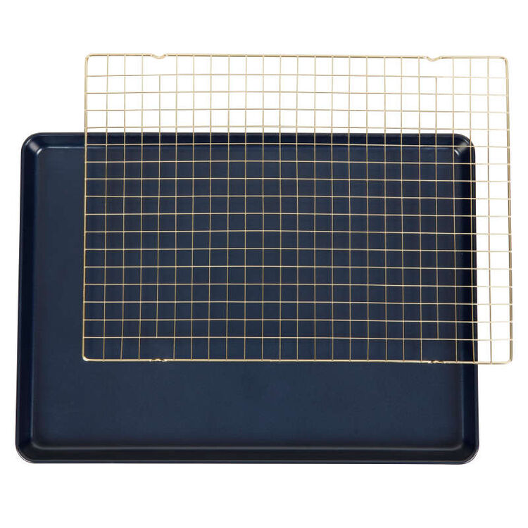 Non-Stick Diamond-Infused Navy Blue Mega Cookie Sheet with Gold Cooling Grid Set