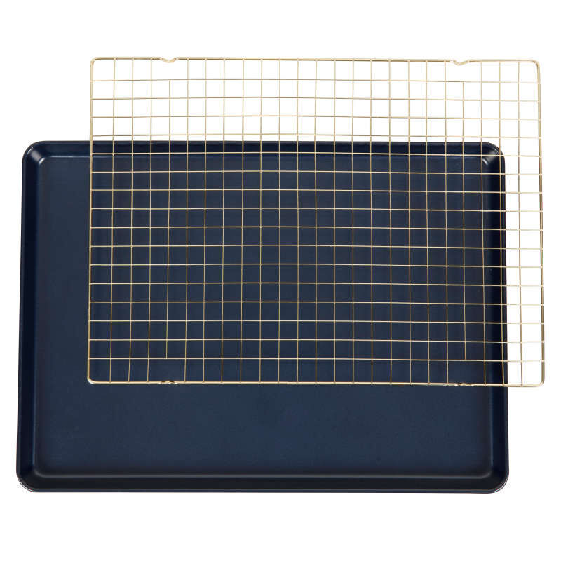 Non-Stick Diamond-Infused Navy Blue Mega Cookie Sheet with Gold Cooling Grid Set image number 0