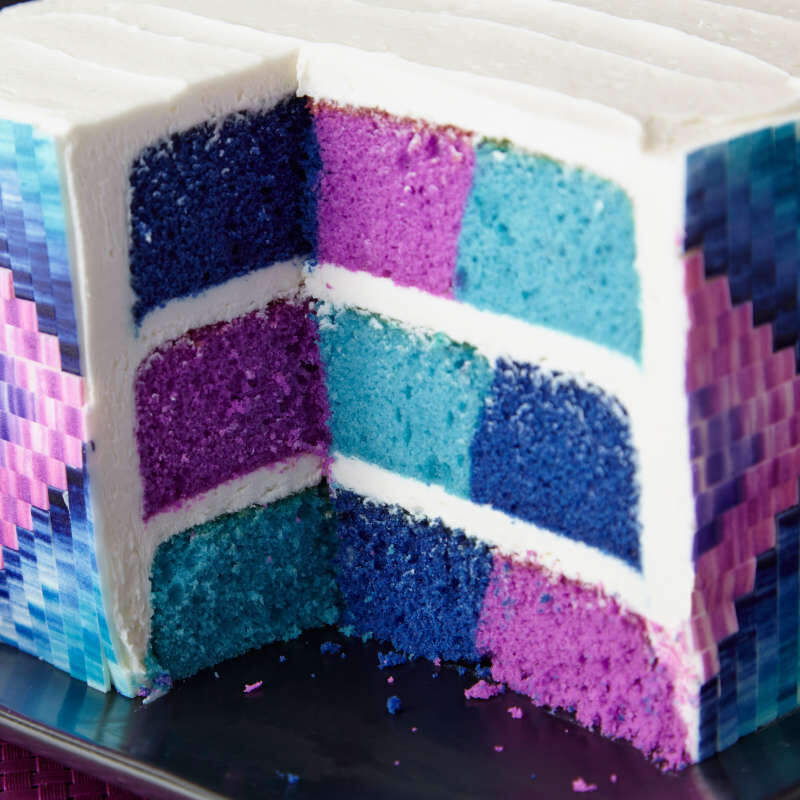 Square Rainbow Checkerboard Cake Pan, 4 Piece Set image number 5