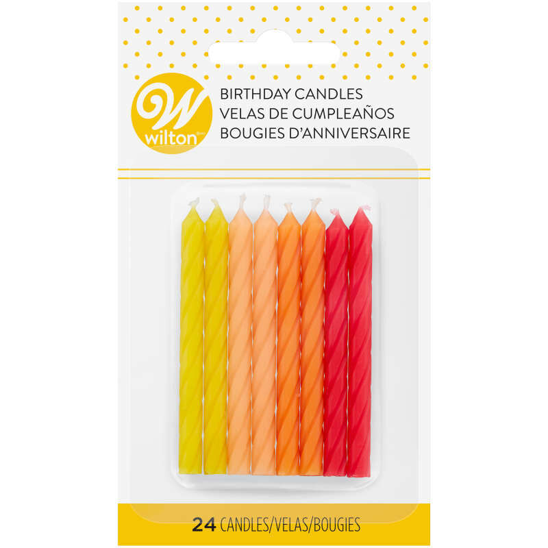 Red, Orange and Yellow Ombre Birthday Candles, 24-Count image number 2