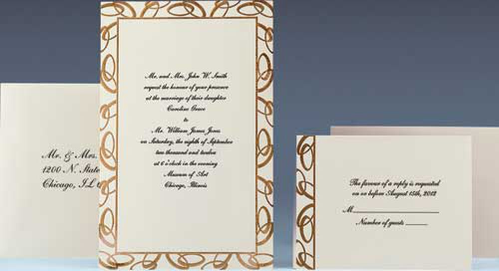 Wilton Wedding Invitations Template: Joined Together (Gold) Wedding Invitation Kit