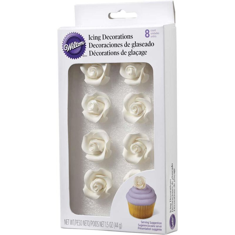 White Rose Icing Decorations, 8-Count image number 0